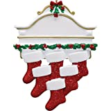Personalized White Mantle Family of 6 Christmas Ornament for Tree 2018 - Garnished Fireplace Glitter Stockings - Parent Children Friend Winter Activity Tradition Grand-kid - Free Customization (Six)