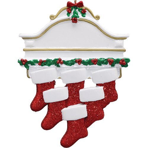 Personalized White Mantle Family of 6 Christmas Ornament for Tree 2018 - Garnished Fireplace Glitter Stockings - Parent Children Friend Winter Activity Tradition Grand-kid - Free Customization (Six) by Ornaments by Elves