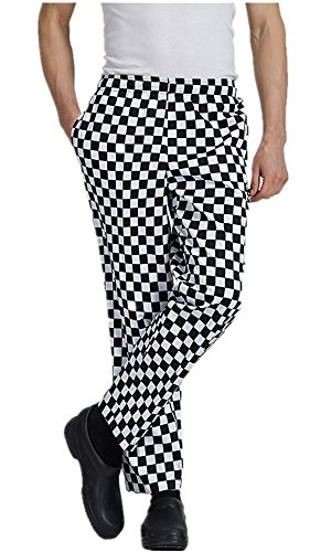 XinAndy Men's High End Grandmaster Chef Pants Black & White Grid Style by XinAndy Chef