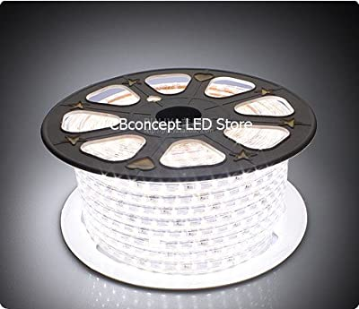 CBConcept® 90FT Pure White 120 Volt High Output LED SMD5050 Flexible Flat LED Strip Rope Light - [Christmas Lighting, Indoor / Outdoor rope lighting, Ceiling Light, kitchen Lighting] [Dimmable] [Ready to use] [7/16 Inch Width X 5/16 Inch Thickness]