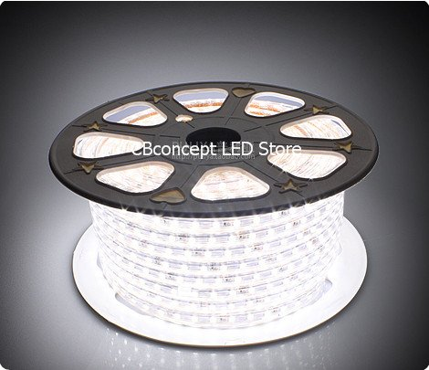 Commercial Grade White Rope Light (CBConcept 90FT Pure White 120 Volt High Output LED SMD5050 Flexible Flat LED Strip Rope Light - [Christmas Lighting, Indoor / Outdoor rope lighting, Ceiling Light, kitchen Lighting] [Dimmable] [Ready to use] [7/16 Inch Width X 5/16 Inch Thickness])