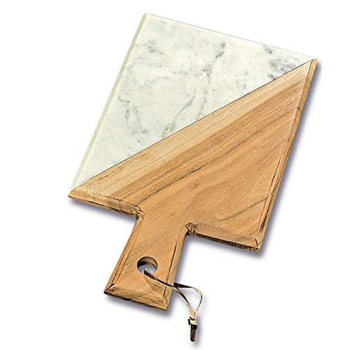 Whole House Worlds The Artisinal Kitchen Acacia and Marble Cheese Server, Cutting Board, Over 1 Ft Long (15 Inches) Handcrafted, Faux Leather Tie, By