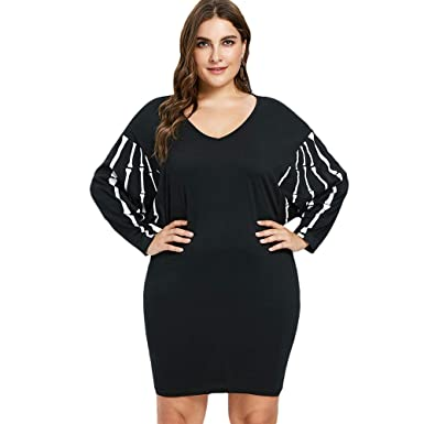 e7c6759aef9 Image Unavailable. Image not available for. Color  PASSOSIE Halloween  Dolman Sleeve Dress Plus Size V Neck Knee-Length ...
