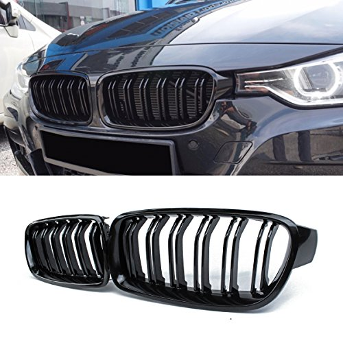 Front Grille, Kidney Grill Replacement for BMW 3 Series F30 F31 (ABS, Gloss Black)