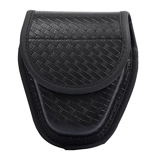 Leather Double Snap Belt - LytHarvest Hidden Snap Basketweave Handcuff Case, Molded Double Cuff Case (Basketweave Cuff Case)