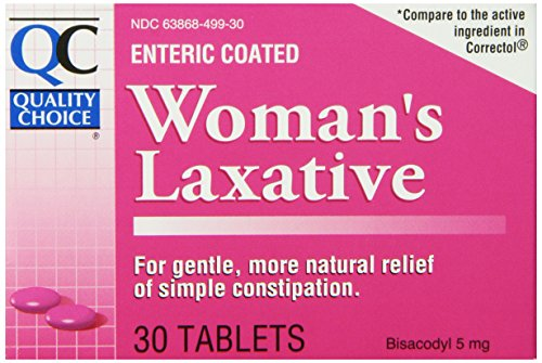 Quality Choice Enteric Coated Women's Laxative Bisacodyl 5mg. Tablets 30 Count,  Boxes (Pack of 6) - Enteric Coated Laxative