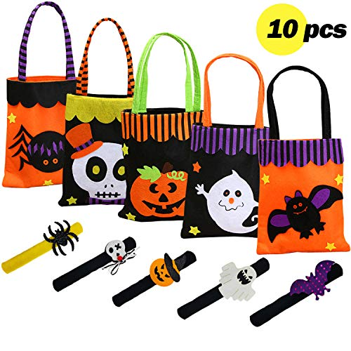 Latin Woman Beautiful Candy Bags and Bracelets from Halloween / Pack10 Pieces Halloween Party Festival Decoration / Pumpkin Bags Tote Bag Trick or Treat Mall Gift/