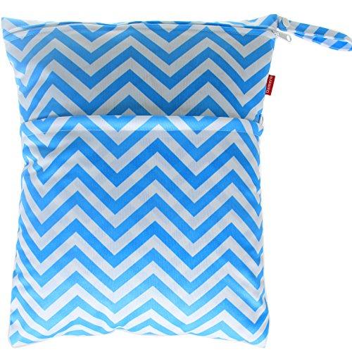 Damero Cute Travel Baby Wet and Dry Cloth Diaper Organizer Bag (Large, Blue Chevron) (Extra Large Hanging Wet Bag compare prices)