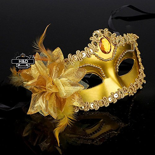 Gold Lace Flower Venetian Halloween Masquerade Ball Carnival Eye Masks Party (Masked Ball Outfit)