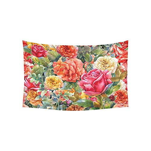 WIEDLKL Tapestry Vintage Floral Roses Tapestries Wall Hanging Flower Psychedelic Tapestry Wall Hanging Indian Dorm Decor for Living Room Bedroom 60 X 40 ()