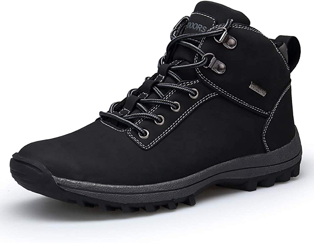VANDIMI Mens Waterproof Hiking Boots Insulated All Weather Lace Up Mid Ankle Shoes Warm Non Slip Boots