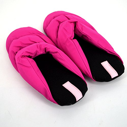 Monique Women Men Winter Warm Plush Cotton Slippers Couples Thick Slippers Lovers Household Slippers Rose Red CVcrfGEC