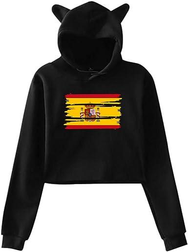 HYJDZKJY Sudadera con Capucha y Sudadera con Capucha para Mujer, Gato, Unicornio, Sudadera con Capucha y Bandera de España: Amazon.es: Ropa y accesorios
