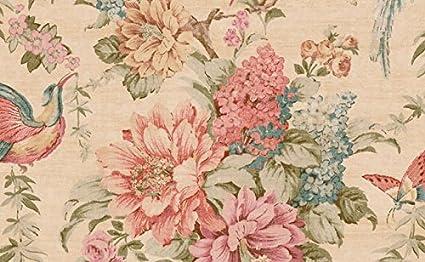 Wallpaper Pink Coral Green Brown Teal Tan Blue Floral Vine Birds