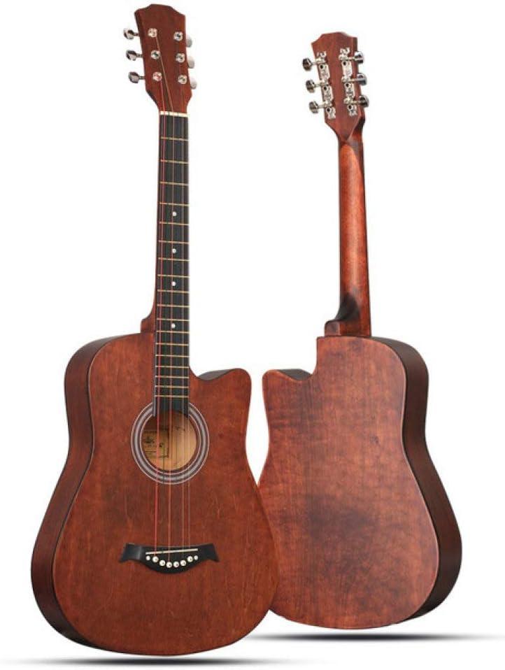 ABMBERTK Guitarra acústica Guitarra Folk de 38 Pulgadas, Muchos Colores newset, marrón, 38 Pulgadas
