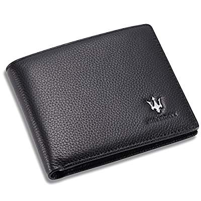 Maserati Bifold Wallet with 3 Card Slots and ID Window - Genuine Leather
