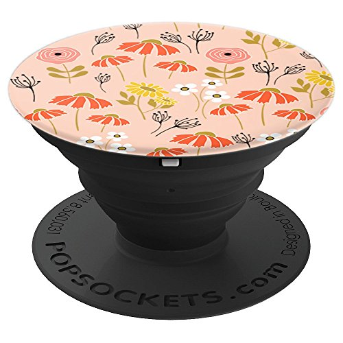 (Peach Orange Yellow Southern Preppy Floral Wallpaper Pattern - PopSockets Grip and Stand for Phones and Tablets)
