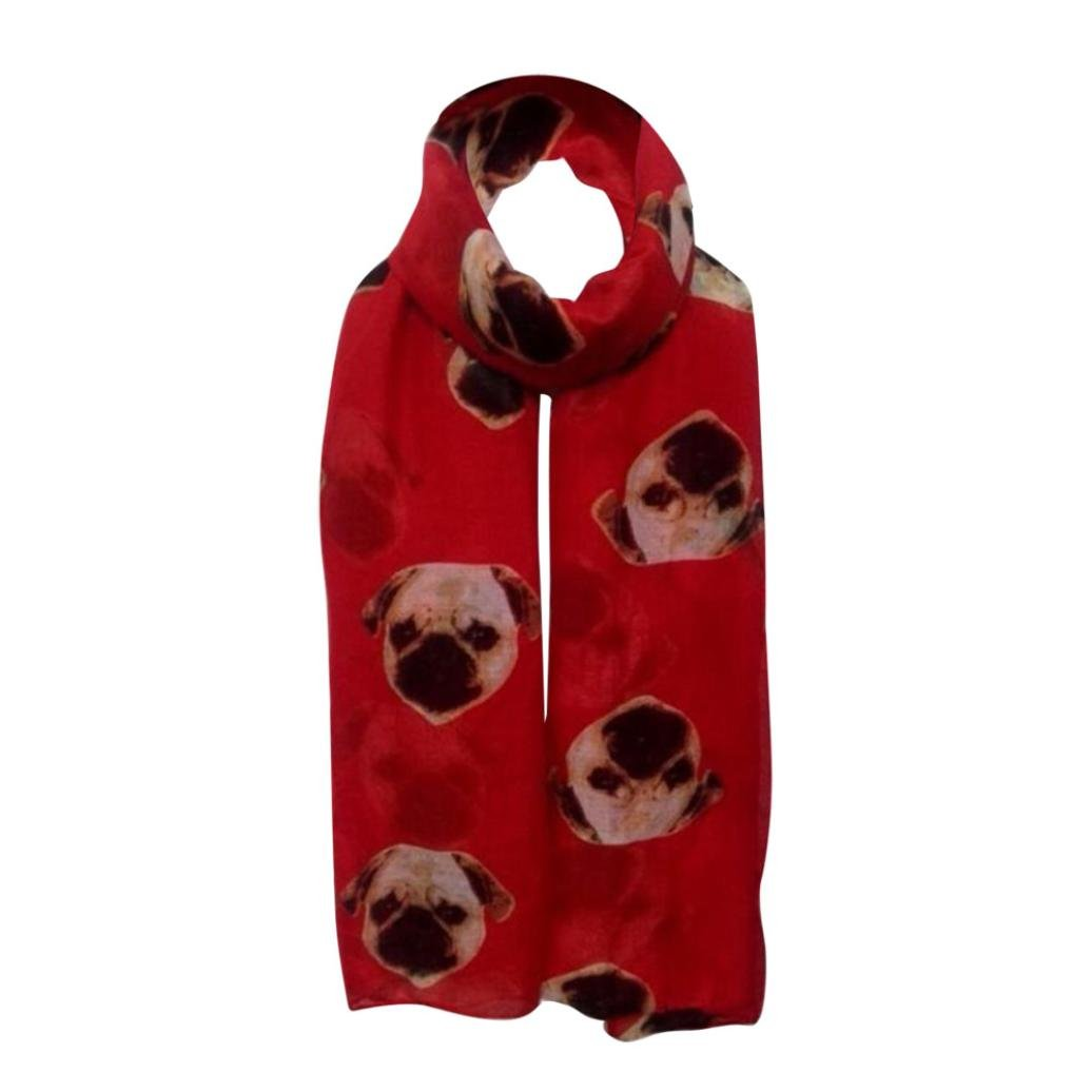 Damen Long Cute Mops Hund Print Schal Wraps Schal weiche Schals OVERDOSE Schal