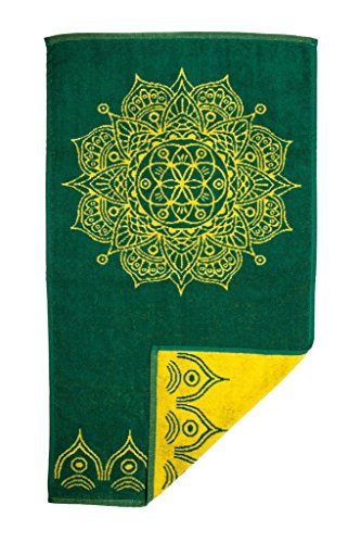 Cotton Reversible Towel - SALE Boho Mandala Luxury Hand Towel in Forest Green Jacquard woven Reversible 35x20
