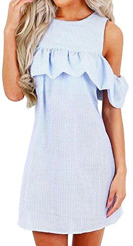 PINUPART Women's Cold Shoulder Ruffled Stripe Casual Dress S Blue