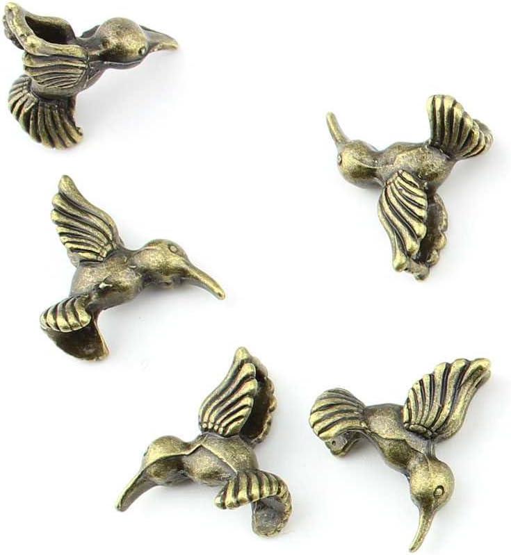 Antique Bronze Metal Bird Beads Hummingbird 10 pcs bird charms