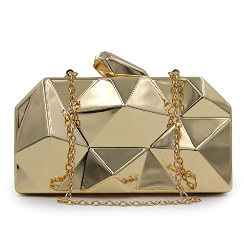 fer simple Metal de main diamant à sacs Argent sacs Women's embrayages or de Flada soir boîte en forme qx7zBWw