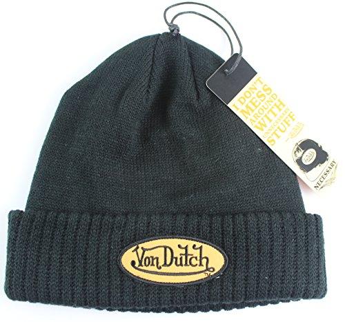 von-dutch-cuffed-knit-beanie-with-orange-logo-black