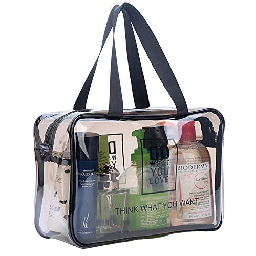 TSA Approved Toiletry Bag Clear Travel Cosmetics Bag with Handle Strap & Durable Zipper, Large Waterproof Compliant Bag Carry-On Luggage Pouch Makeup Bag for Women, Men