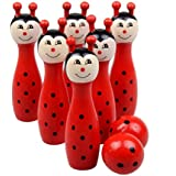 E-SCENERY Kids Cartoon Wooden Bowling Balls Play Set, Skittles Set Toys For Toddlers, Kids, Adults, Learning, Educational, Early Developmental Toys With 6 Pins and 2 Bowling Balls