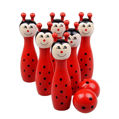 Ball Skittle (E-SCENERY Kids Cartoon Wooden Bowling Balls Play Set, Skittles Set Toys For Toddlers, Kids, Adults, Learning, Educational, Early Developmental Toys With 6 Pins and 2 Bowling Balls (Red))