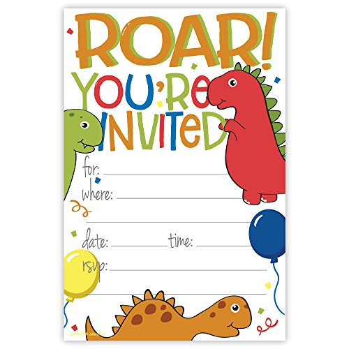 Dinosaur Fun Birthday Party Invitations (20 Count) With Envelopes