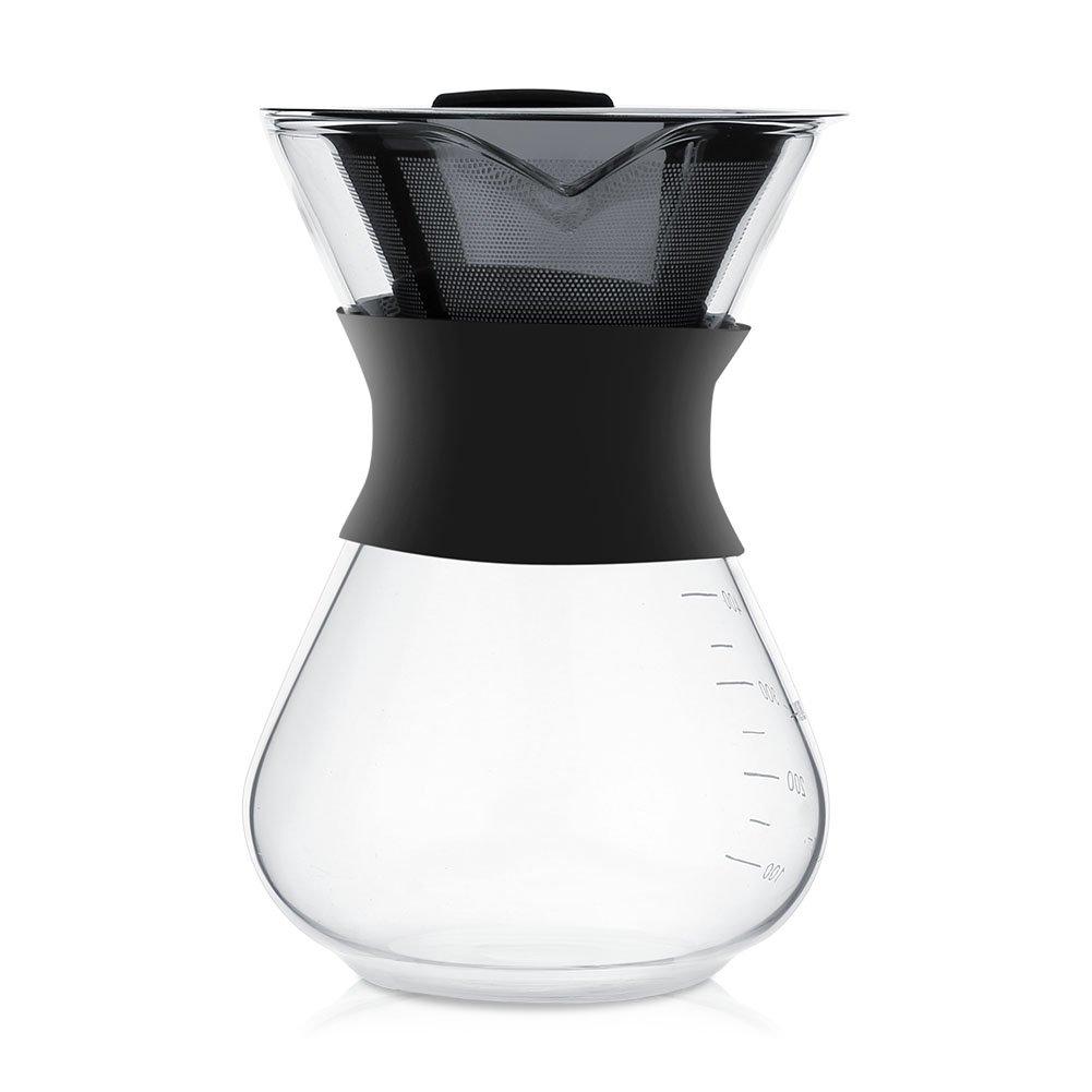 Kaffeebereiter Kaffeekanne, ASHATA 400ML Pour-Over Kaffeezubereiter Manuelle Kaffeebereiter, Pour Over Kaffeemaschine Glas Kaffeekanne mit Edelstahlfilter fü r Aufbrü hen des Kaffees