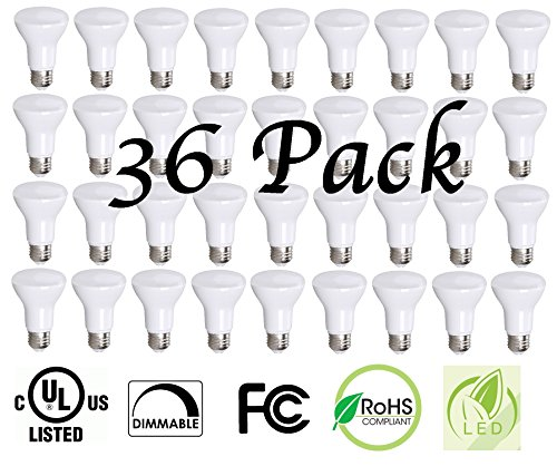 BR20 LED Light Bulbs by Bioluz LED, 50W Equivalent (7W) 2700K Warm White 550 Lumen Dimmable Flood Lamp - Indoor / Outdoor E26 Medium Base, UL Listed (Pack of 36) by Bioluz LED