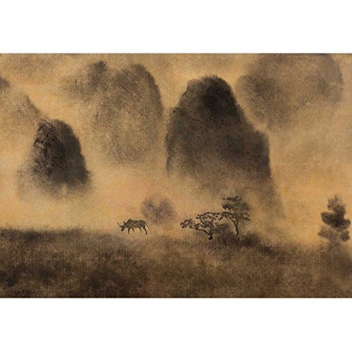 wall26 - Yellow Fog and Chinese Mountain - Removable Wall Mural | Self-Adhesive Large Wallpaper - 100x144 inches by wall26 (Image #1)