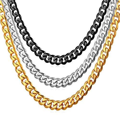 U7 Fashion Jewelry Men Women 6mm Stainless Steel Link Curb Chain Necklace 22