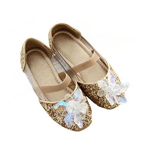 Always Pretty Little Girls Crystal Ballet Ballerina Flats Princess Shoes Gold 1.5 M