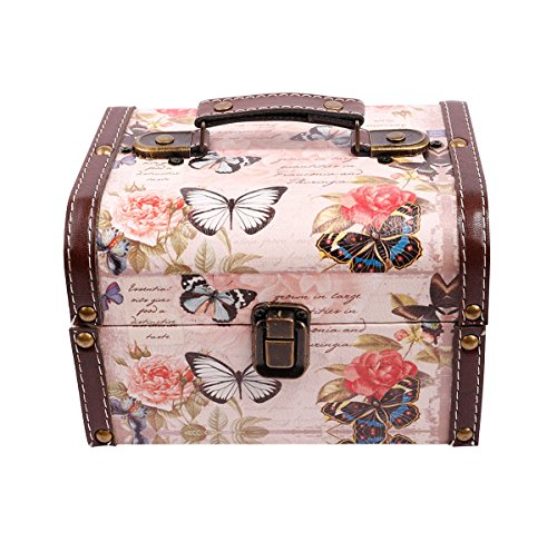 (WaaHome Butterfly Wooden Treasure Boxes Decorative Jewelry Keepsakes Box for Kids Girls Women Gifts,Pink (7.1''X5.6''X4.7''))