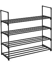 SONGMICS 4-Tier Shoe Rack, Shoe Tower Shelf Entryway Cabinet Storage Organizer, Black ULSA14BK