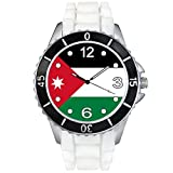 Jordan Country Flag White Jelly Silicone Band Unisex Sports Wrist Watch