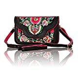 Bonice Women Handbags Embroidery Handmade Canvas Ethnic Fabric Across Wallets Small Square Package Phone Package Handbag National Trend Embroidery Ethnic Backpack Mini Purse - Black