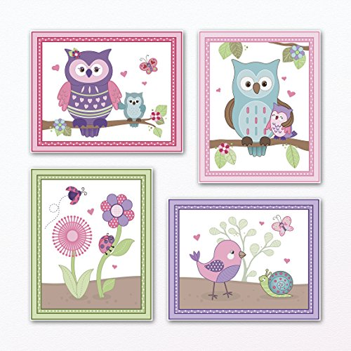 Happy Owls and Friends Forest Animal Nursery Art Prints Baby Girl Wall Art (8