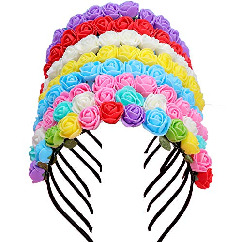 BBTO 8 Pieces Boho Flower Headband Floral Wreath Hairband Bridal Garland Rose Hairband for Women Girl, 8 Colors -