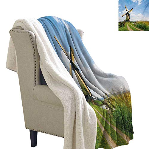 Sunnyhome Windmill Lightweight Fluffy Flannel and Sherpa Blanket 60x78 Inch Blooming Spring Field in Holland Old Traditional Architecture Blanket for Sofa Couch Bed Green Pale Blue and Apricot ()