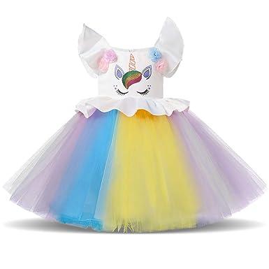 OBEEII Vestidos de Unicornio Niña Disfraz Unicornio Princesa ...