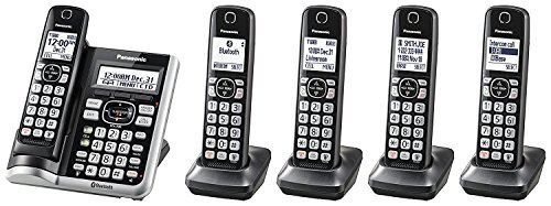 Panasonic KX-TG785SK Link2Cell BluetoothCordless Phone with Voice Assist and Answering Machine - 5 Handsets (Certified Refurbished)
