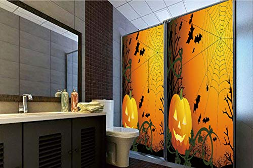 Horrisophie dodo 3D Privacy Window Film No Glue,Spider Web,Halloween Themed Composition with Pumpkin Leaves Trees Web and Bats Decorative,Orange Dark Green Black,70.86