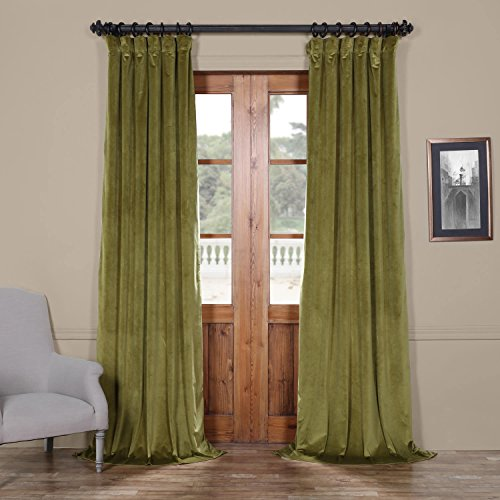 Half Price Drapes Vpyc-161224-84 Heritage Plush Velvet Curtain, 50 x 84, Retro Black Green