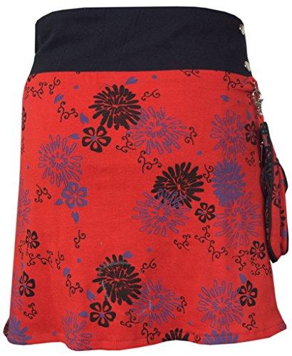 Floral Femme F Coton Rversible Courte pour Poche et LITTLE Motif pression en Boutons Jupe KATHMANDU avec Amovible an1qOgZ