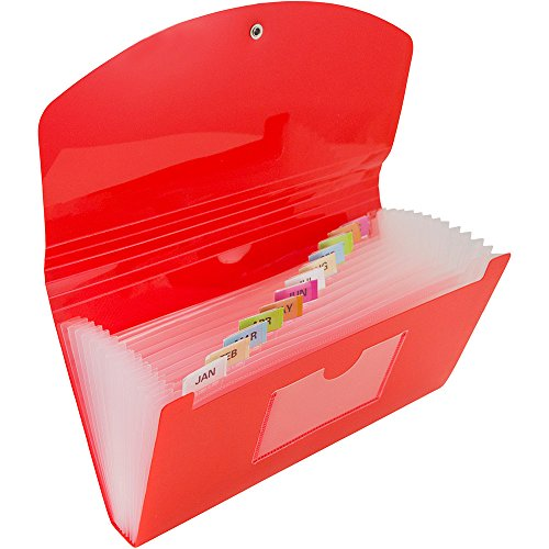 JAM Paper Plastic Accordion Folders - 13 Pocket Expanding File with Button & Elastic String Closure - Check (5'' x 10 1/2'') - Red - 24/pack by JAM Paper