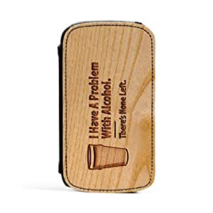 Carved on Wood Alcohol Premium Faux PU Leather Case, Protective Hard Cover Flip Case for Samsung® Galaxy S3 by Chargrilled + FREE Crystal Clear Screen Protector